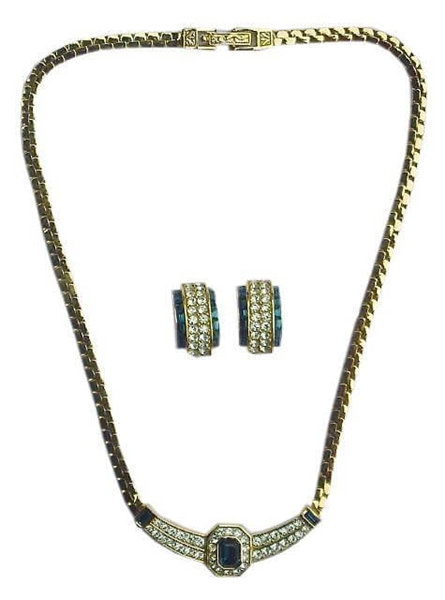 Attwood & Sawyer 1980s Crystal & Diamante blue Necklace & Earrings Set