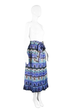 Givenchy 1970s Abstract Print Silk blue Vintage Midi Skirt