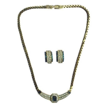 Picture of Attwood & Sawyer 1980s Crystal & Diamante blue Necklace & Earrings Set