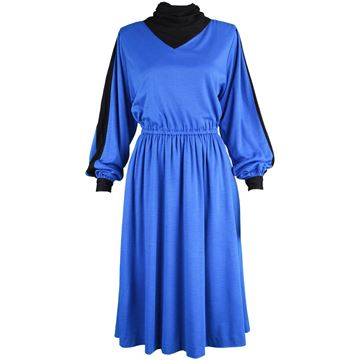 Akris 1980s Cowl Neck Blue & Black Vintage Midi Dress