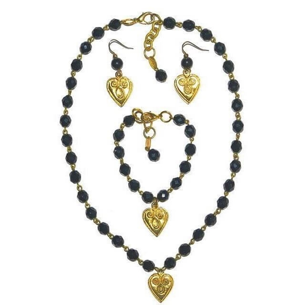 Poggi Paris Glass & Gold Plate black Heart Vintage Necklace, Bracelet & Earrings Set