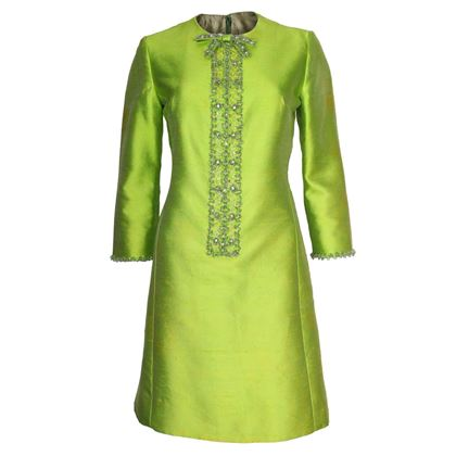 Vintage 1960s embellished bright green Cocktail Dress
