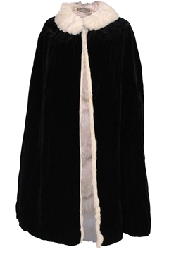 Marshall & Snelgrove 1930s Fur Lined velvet black Cape