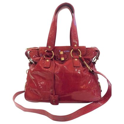 Yves Saint Laurent red varnish leather shoulder bag