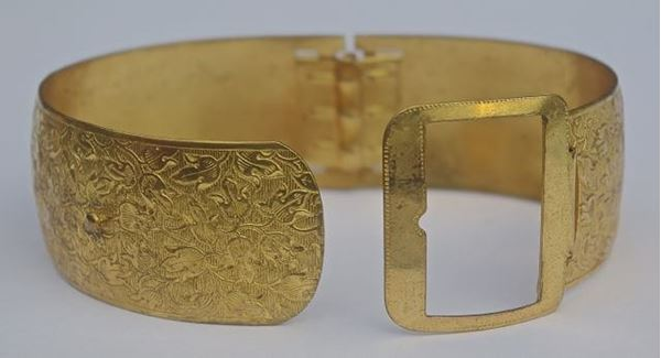 Art Deco 1930s Floral Gold Tone Vintage Buckle Bangle