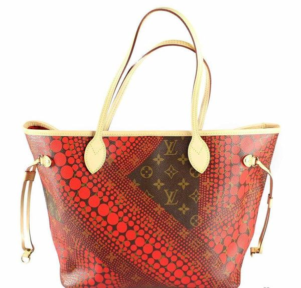 Louis Vuitton Limited Edition Yayoi Kusama Red Neverfull Mm Tote Bag