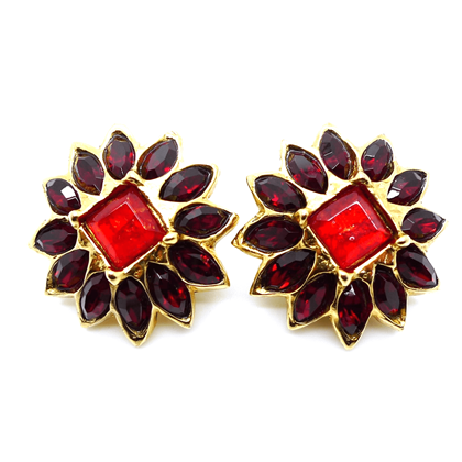 Alexis Lahellec Paris Rhinestone red vintage Earrings