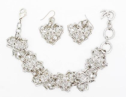 Picture of Christian Lacroix Silver Heart vintage Bracelet & Earrings