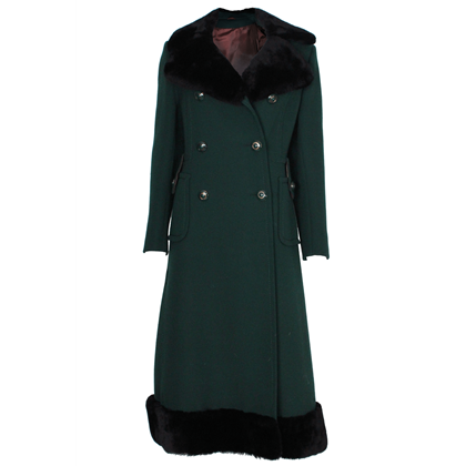 Mansfield for Harrods 1970s wool & faux fur Pine Green vintage Coat