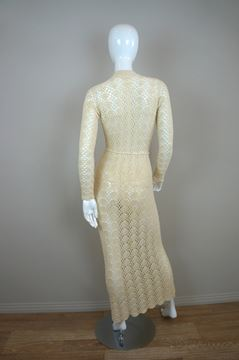 Vintage 1970s Crochet cream vintage Boho Maxi Dress