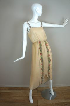 Vintage 1970s Boho kimono sleeve cream Maxi Dress
