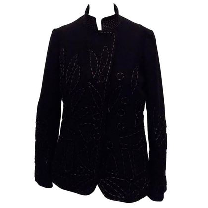 Moschino 1980s Applique and Blanket Stitch Black Vintage Jacket