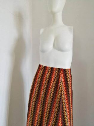 Moschino Jeans 1990s knitted zig zag striped Brown Vintage Maxi Skirt