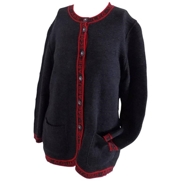 Fendi Red Lettering horoscope Dark Grey Vintage cardigan