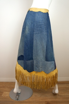 The Hidery 1970s Denim & Fringed Leather vintage Skirt