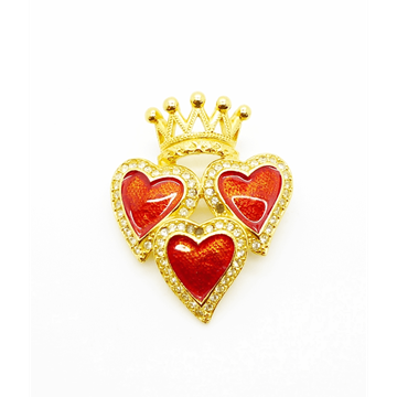 Butler & Wilson 1980s Heart & Crown gold tone vintage Brooch