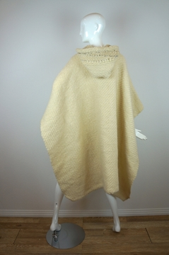 Vintage 1970s Hand Woven Hooded cream Cape Poncho