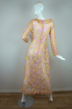 Vintage 1960s LacePink & Yellow Maxi Dress
