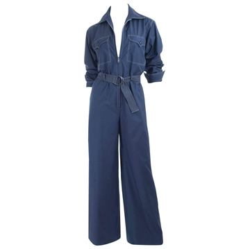 Yves Saint Laurent Rive Gauche 1970s Rare Cotton Contrast Stitch Navy Blue Vintage Jumpsuit