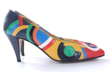 Andrea Pfister 1980s Karung Snakeskin multicoloured geometric pattern vintage mid heel court shoes