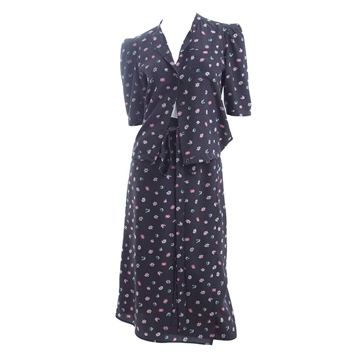 CHLOE Silk polka dot Floral Black vintage Ensemble