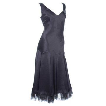 Givenchy Couture 1990s Silk Satin Black Vintage Dress