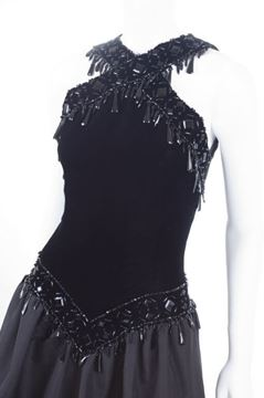 Givenchy 1980s Couture Velvet Bodice Beaded Black Vintage Gown