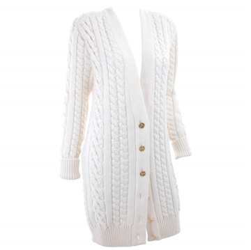 Chanel 1990s cable Knit pearl embellised white vintage cardigan