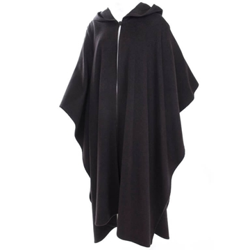 Yves Saint Laurent 1980s Rive Gauche Cashmere Dark Charcoal Vintage Hooded Cape