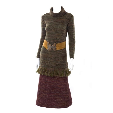 Yves Saint Laurent 1960s Wool Knitted Skirt and Sweater Green and Red Vintage Ensemble