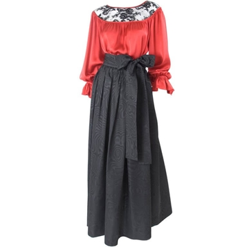 Yves Saint Laurent 1970s Satin and Moire Red and Black Blouse and Skirt Ensemble