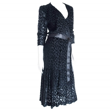 Pierre Balmain Burnout Paisley Velvet vintage Cocktail Dress