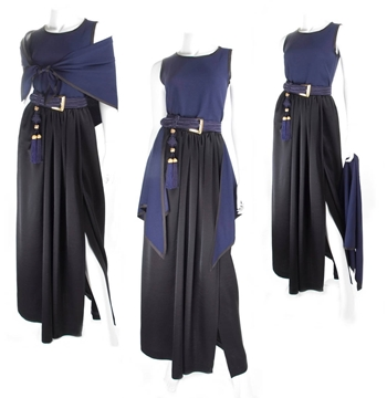 Yves Saint Laurent Rive Gauche 1980s Navy and Black Vintage top and skirt ensemble