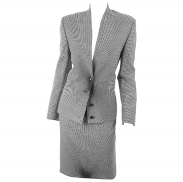 Gianni Versace 1990s Couture illusion pattern black & white vintage Suit