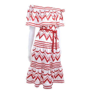 Yves Saint Laurent 1980s Gypsy Zig Zag White and Red Vintage Skirt and Blouse Ensemble