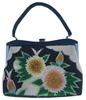Vintage 1960s Beaded Floral black & yellow Bag