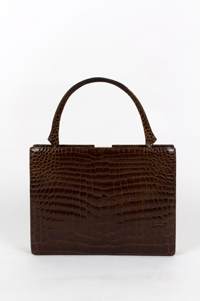 Vintage 1960s hornback crocodile leather brown vintage handbag