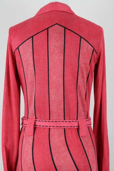 ROBERTA DI CAMERINO 1970S JERSEY TROMPE L'OEIL LOBSTER-RED VINTAGE DRESS