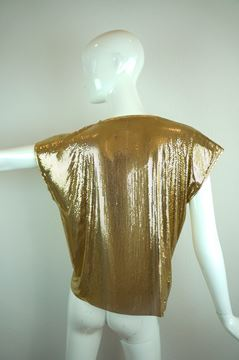 Ferrara Whiting & Davis 1980s Gold Metal Mesh vintage Top