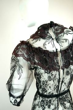 Vintage 1970s Sheer Lace black Vintage Blouse