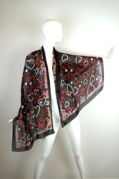 Moschino 1980s Love Is All Around patterned black vintage Scarf