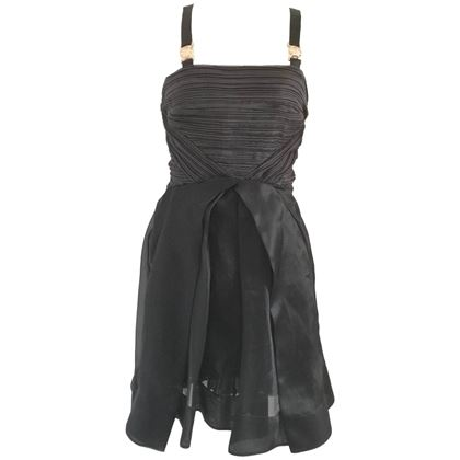 Versus by Gianni Versace Pleated Bodice Black Vintage Mide Dress