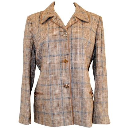 Hermes 1970s woven check brown vintage jacket