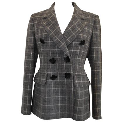 Moschino Cheap and Chic 1990s Tartan Floral Button Grey Vintage Jacket