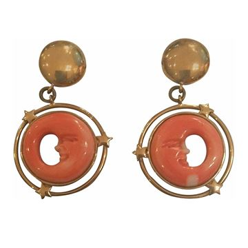 18k gold 1980s coral moon vintage earrings