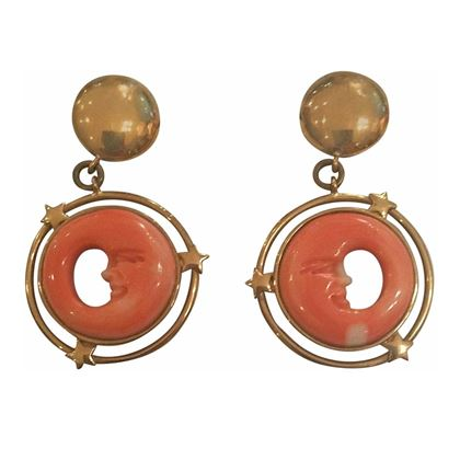 1980s 18k gold coral moon earrings