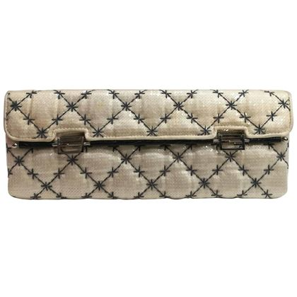 Fendi white sequined vintage clutch bag