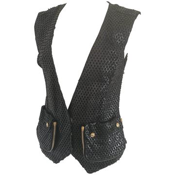 Versace 1990s Perforated Leather Black Vintage Waistcoat