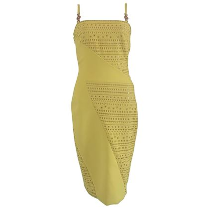 Versace Perforated Yellow Vintage Dress