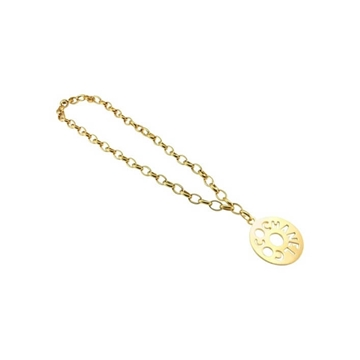 Chanel 1970s Coco Chanel Disk Pendant Chain gold tone vintage Necklace